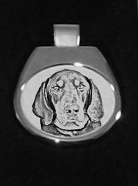 Black & Tan Coonhound Silver Plated White Pendant