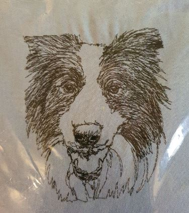 Border Collie Embroidered Cushion Cover