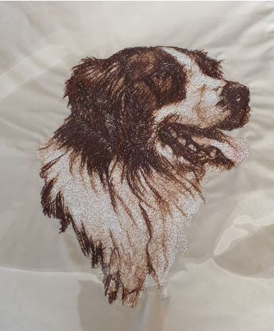 Border Collie Chocolate Embroidered Cushion Cover