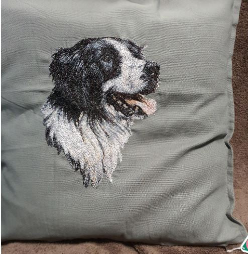 Border Collie Embroidered Colour Cushion Cover