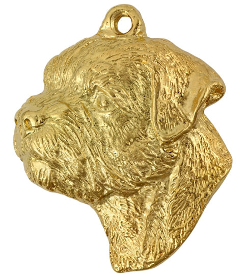 Border Terrier Hard Gold Plated Pendant