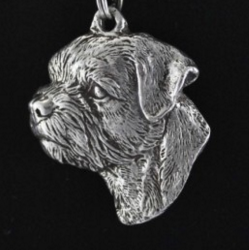 Border Terrier Silver Plated Key Chain