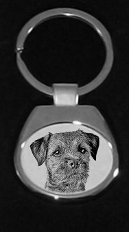 Border Terrier Silver Plated Key Ring