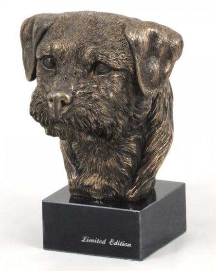 Border Terrier Statue Marble Base