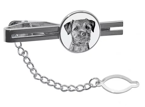 Border Terrier Silver Plated Tie Pin