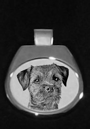 Border Terrier Silver Plated White Pendant