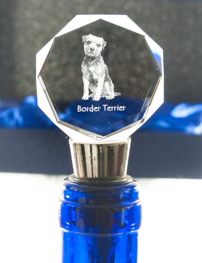 Border Terrier Crystal Wine Stopper