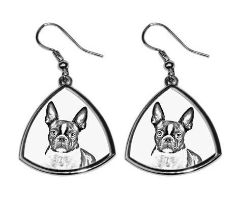 Boston Terrier Silver Plated Earrings
