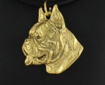 Boxer Hard Gold Plated Pendant Cropped Ears
