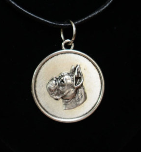 Boxer Silver Plated Round Pendant