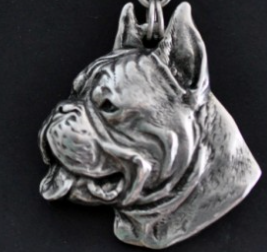 Boxer Silver Plated Pendant Cropped Ears