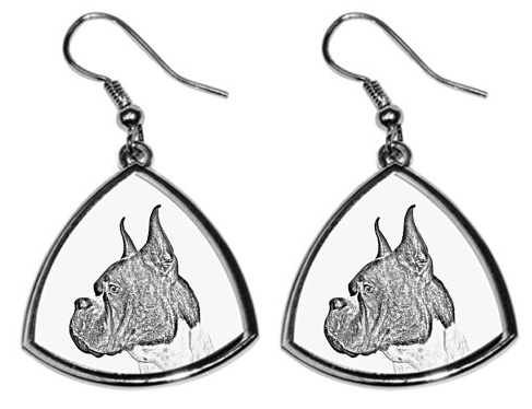 Boxer Silver Plated Earrings Cropped Ears