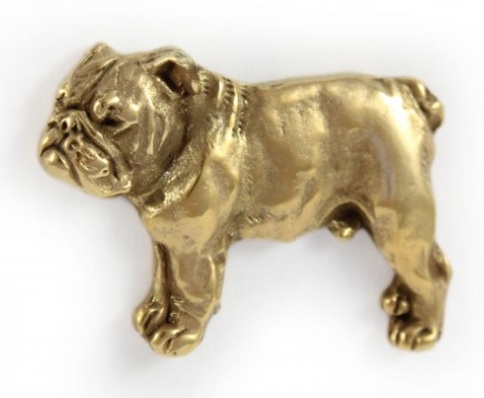 British Bulldog Hard Gold Plated Full Body Lapel Pin