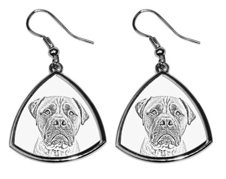 Bullmastiff White Earrings