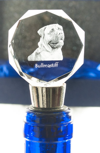 Bullmastiff Crystal Wine Stopper