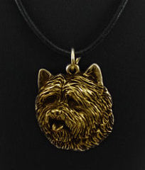 Cairn Terrier Hard Gold Plated Pendant