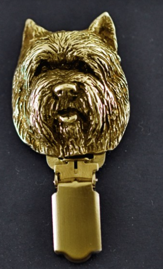 Cairn Terrier Hard Gold Plated Show Clip