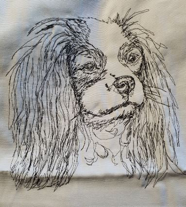 Cavalier King Charles Embroidered Cream Cushion Cover