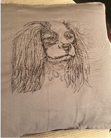 Cavalier King Charles Embroidered Grey Cushion Cover