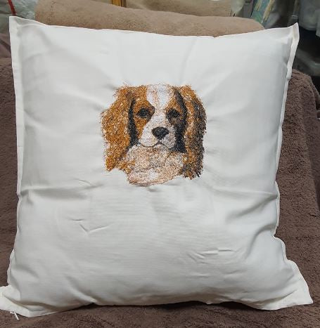Cavalier King Charles Puppy Embroidered Cushion Cover