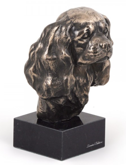 Cavalier King Charles Statue on a Marble Base