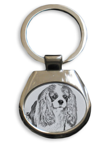 Cavalier King Charles White Key Ring