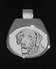 Chesapeake Bay Retriever White Pendant
