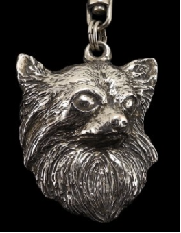 Chihuahua Long Hair Silver Plated Key Chain