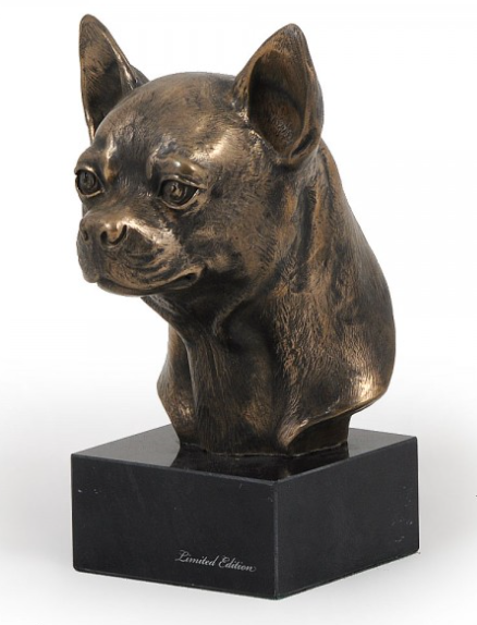 Chihuahua Smooth Coat Statue Marble Base