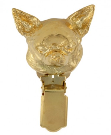 Chihuahua Smooth Coat Hard Gold Plated Show Clip