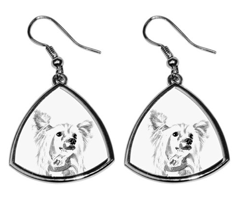 Chinese Crested Dog Silver Plated Earrings