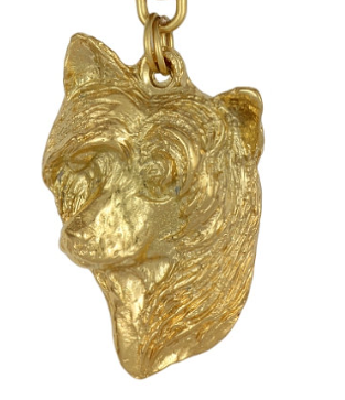 Chinese Crested Dog Hard Gold Plated Pendant