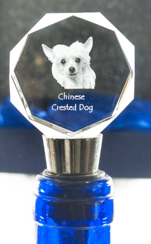 Chinese Crested Dog Crystal Wine Stopper