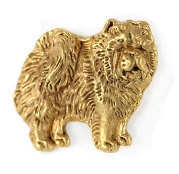 Chow Chow Hard Gold Plated Lapel Pin
