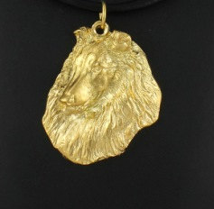 Collie Rough Hard Gold Plated Pendant