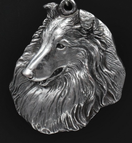 Collie Rough Silver Plated Key Chain