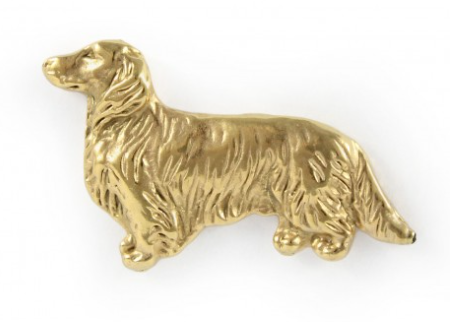 Dachshund Long Hair Full Body Hard Gold  Plated Lapel Pin