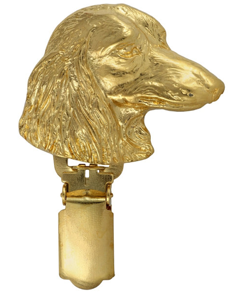 Dachshund Long Coat Hard Gold Plated Show Clip