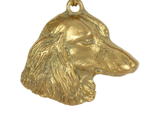 Dachshund Long Coat Hard Gold Plated Key Chain