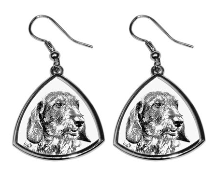 Dachshund Wire Hair Silver Plated Earrings