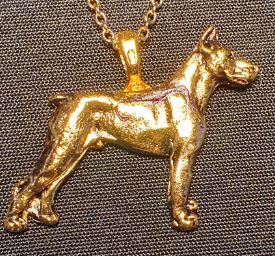 Doberman Full body Mini Gold Plated Pendant.