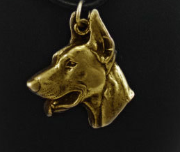 Doberman Hard Gold Plated Key Chain