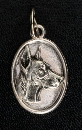 Doberman Silver Plated Oval Pendant