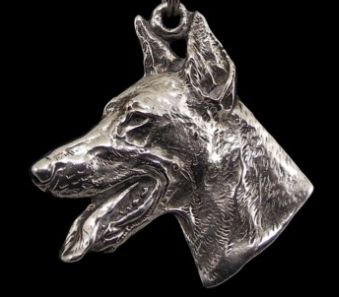 Doberman Silver Plated Key Chain