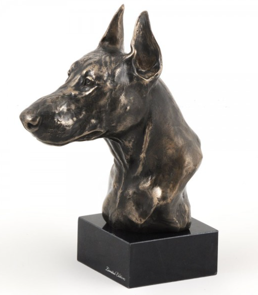 Doberman Statue on a Marble Base Cropped Ears