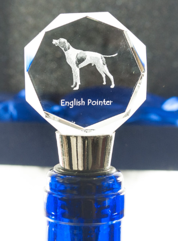 English Pointer Crystal Wine Stopper Full Body