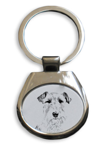 Fox Terrier Wire Coat White Key Ring