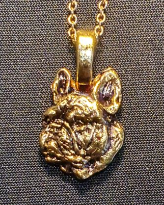 French Bulldog Head Mini Gold Plated Pendant.