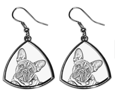 French Bulldog Silver Plated Earrings