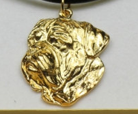 French Mastiff Hard Gold Plated Pendant